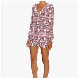 INTERMIX • Long Sleeve Pink & White Shorts Romper